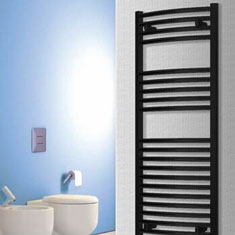 Black Curved Heated Towel Rails