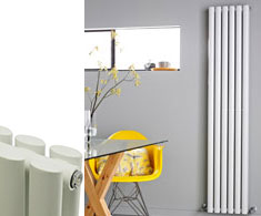 white vertical designer radiators