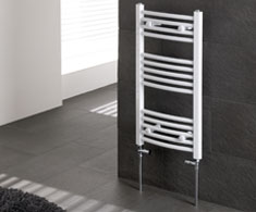 Curved White Heated Towel Rails