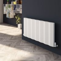 Reina Wave Aluminium Double Panel  Designer Heated Radiator 600mm H x 1452mm W Anthracite Electric Only - Thermostatic