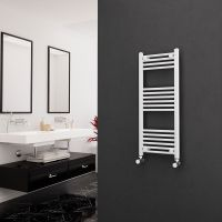 Eastgate 22mm Steel Straight White Heated Towel Rail 1000mm x 400mm - Central Heating