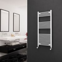 Eastgate 22mm Steel Straight White Heated Towel Rail 1200mm x 500mm Electric Only - Standard