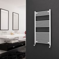 Eastgate 22mm Steel Straight White Heated Towel Rail 1200mm x 600mm Electric Only - Standard