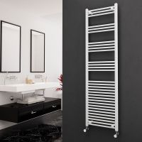 Eastgate 22mm Steel Straight White Heated Towel Rail 1800mm x 500mm Electric Only - Standard