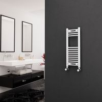 Eastgate 22mm Steel Straight White Heated Towel Rail 800mm x 300mm - Central Heating