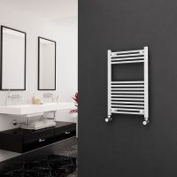 Eastgate 22mm Steel Straight White Heated Towel Rail 800mm x 500mm - Central Heating