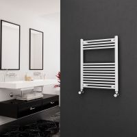 Eastgate 22mm Steel Straight White Heated Towel Rail 800mm x 600mm Electric Only - Standard