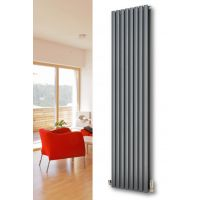 MaxtherM Eliptical Tube Double Panel Vertical Designer Radiator 1800mm High x 468mm Wide, Anthracite - 5003 BTU's