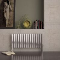 Carisa Fortuna Brushed Stainless Steel Horizontal Designer Radiator 600mm x 1035mm Dual Fuel - Thermostatic