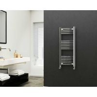 Eastgate 22mm Steel Straight Chrome Heated Towel Rail 1000mm x 400mm - Central Heating, 1311 BTUs