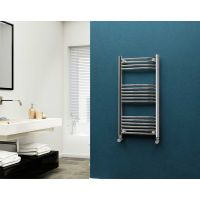 Eastgate 22mm Steel Curved Chrome Heated Towel Rail 1000mm x 500mm - Electric Only - Standard, 1540 BTUs