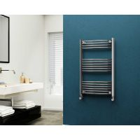Eastgate 22mm Steel Curved Chrome Heated Towel Rail 1000mm x 600mm - Electric Only - Standard, 1780 BTUs