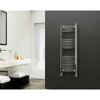 Eastgate 22mm Steel Straight Chrome Heated Towel Rail 1200mm x 400mm - Central Heating, 1595 BTUs