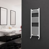 Eastgate 22mm Steel Curved White Heated Towel Rail 1200mm x 400mm - Electric Only - Standard