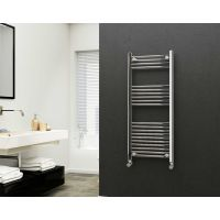 Eastgate 22mm Steel Straight Chrome Heated Towel Rail 1200mm x 500mm - Central Heating, 1882 BTUs