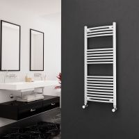Eastgate 22mm Steel Curved White Heated Towel Rail 1200mm x 500mm - Electric Only - Standard
