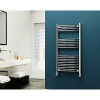 Eastgate 22mm Steel Curved Chrome Heated Towel Rail 1200mm x 600mm - Electric Only - Standard, 2182 BTUs