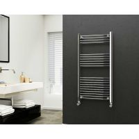 Eastgate 22mm Steel Straight Chrome Heated Towel Rail 1200mm x 600mm - Electric Only - Standard 2182 BTUs