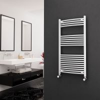 Eastgate 22mm Steel Curved White Heated Towel Rail 1200mm x 600mm - Electric Only - Standard