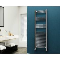 Eastgate 22mm Steel Curved Chrome Heated Towel Rail 1600mm x 500mm - Electric Only - Standard, 2484 BTUs