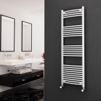 Eastgate 22mm Steel Curved White Heated Towel Rail 1600mm x 500mm - Electric Only - Standard