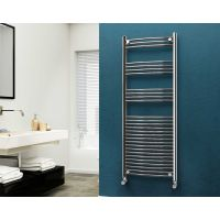 Eastgate 22mm Steel Curved Chrome Heated Towel Rail 1600mm x 600mm - Electric Only - Standard, 2881 BTUs