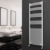 Eastgate 22mm Steel Curved White Heated Towel Rail 1800mm x 600mm - Electric Only - Standard