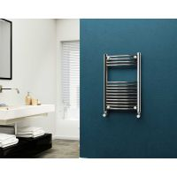 Eastgate 22mm Steel Curved Chrome Heated Towel Rail 800mm x 500mm - Electric Only - Standard, 1302 BTUs