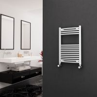 Eastgate 22mm Steel Curved White Heated Towel Rail 800mm x 500mm - Electric Only - Standard