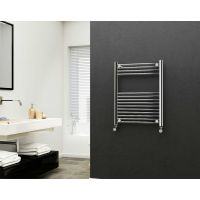 Eastgate 22mm Steel Straight Chrome Heated Towel Rail 800mm x 600mm - Central Heating, 1509 BTUs