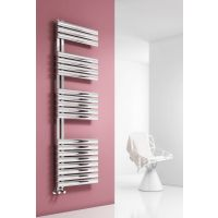 Reina Scalo Polished Stainless Steel Designer Heated Towel Rail 1120mm x 500mm Dual Fuel - Thermostatic