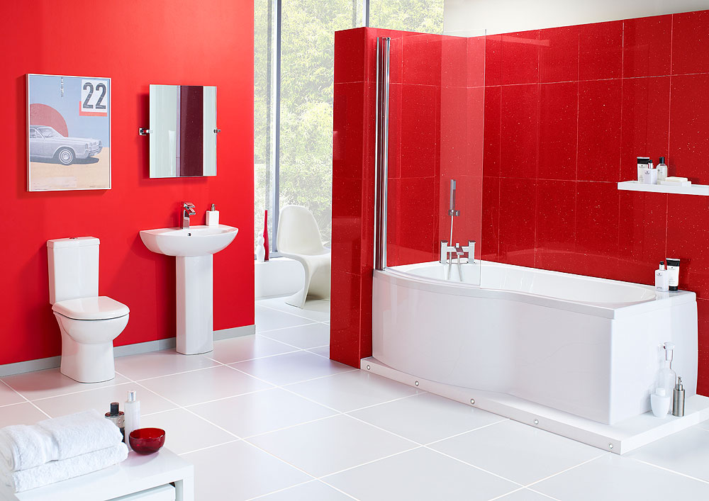 Rouge Suite Left Hand - Complete Bathroom Suite including