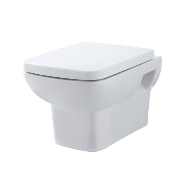 Premier Ambrose Vitreous China Wall Hung Toilet Pan Concealed With Cistern & Soft Close Seat